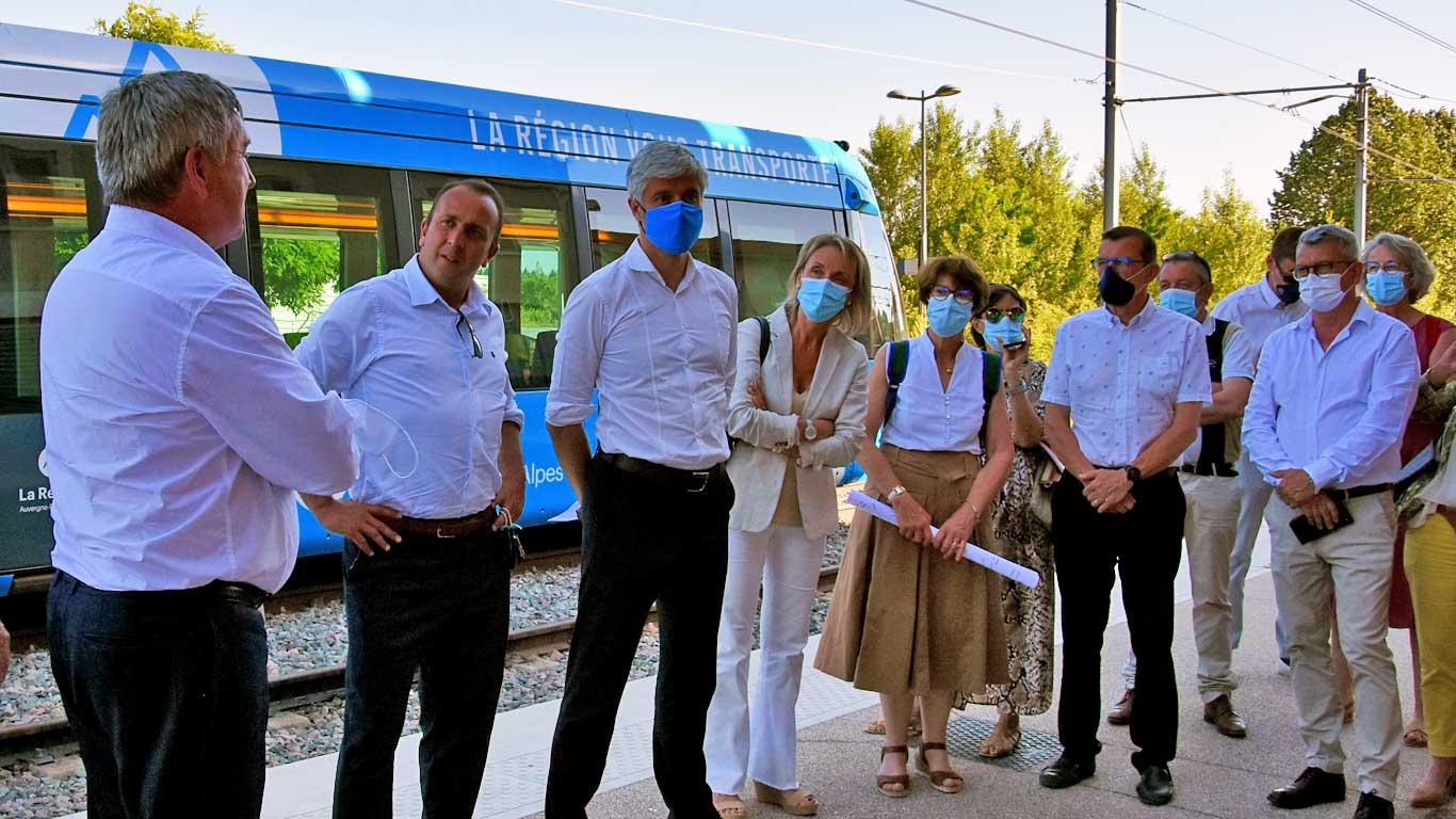 Visite de Laurent Wauquiez en gare de Brignais le 14 juin 2021